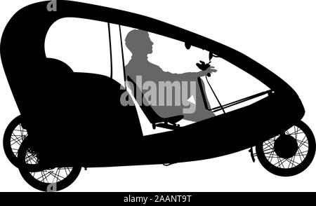 Silhouette of a tricycle male on white background. - Stock Photo