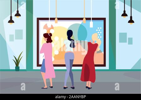 women in contemporary art gallery, exhibition visitors viewing modern abstract paintings - Stock Photo