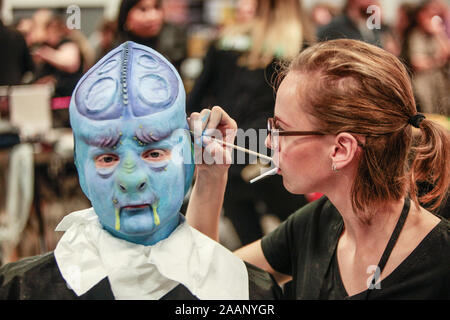 Coventry, UK. 23rd Nov, 2019. The sixth annual event billed as The educational event for Prosthetic and media make up was held in Coventry Ricoh Arena A day full of talks and advice from top film industry professionals, beautiful body art, extraordinary exhibits, exciting competitions and shopping with leading specialist retailers. This is our sixth annual event which since its small beginnings has grown into THE annual makeup FX gathering Credit: Paul Quezada-Neiman/Alamy Live News