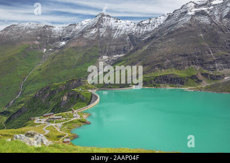 View of the Mooserboden reservoir and the Hoher Tenn in Kaprun - Stock Photo