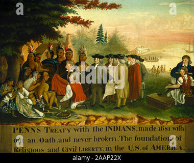 The English Quaker Leader William Penn concluding a treaty of friendship with North American Indians in November 1683, from a contemporary engraving by Benjamin West. Penn's colony Pennsylvania became a model country of religious and political tolerance. Stock Photo