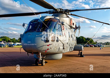 A Royal Navy 814 Naval Air Squadron, AgustaWestland Merlin HM2 Helicopter based at RNAS Culdrose in Cornwall at the RIAT, RAF Fairford, 2019 - Stock Photo