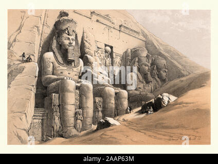 Colossal statues at Great Temple of Abu Simbel, by David Roberts. 19th Century. The Abu Simbel temples are two massive rock temples at Abu Simbel, a v - Stock Photo