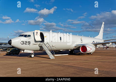 A United States Navy Boeing Poseidon P8-A, Maritime Patrol Aircraft, 169329 / PD329, at the 2019 RIAT, RAF Fairford, UK - Stock Photo