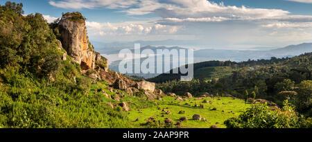 Ethiopia, Rift Valley, Gamo Gofo Omo, Arba Minch, Dorze Holowo, escarpment above Lake Abaya, panoramic - Stock Photo