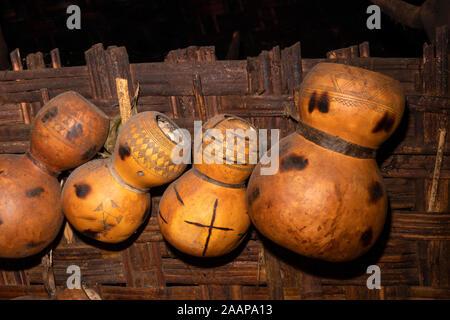 Ethiopia, Rift Valley, Gamo Gofo Omo, Arba Minch, Dorze village, calabashes used for household storage - Stock Photo