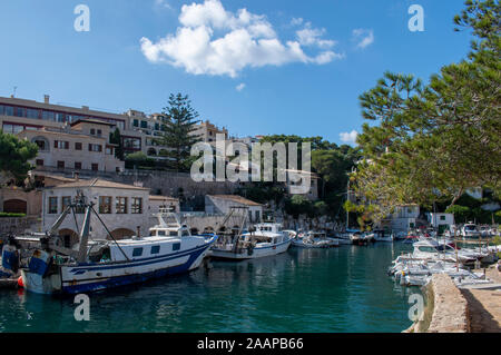 Cala Figuera Majorca, view of this busy natural port and traditional village which retains an atmosphere of a working fishing port. - Stock Photo