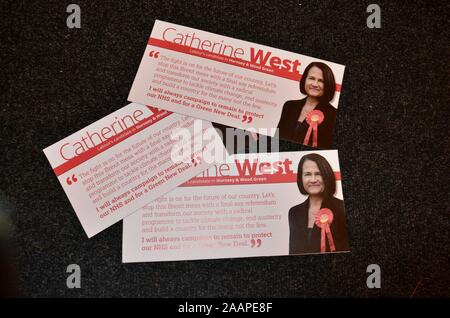election leaflets for catherine west of labour and dawn barnes of liberal democrats wood green and hornsey parliamentary candidates for the general el - Stock Photo