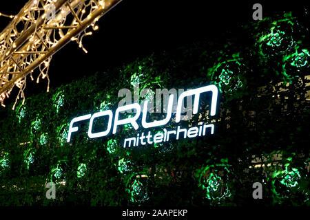 Koblenz, Germany, 11/23/2019: The Forum Mittelrhein is a shopping centre on Zentralplatz in Koblenz. Logotype with christmas decoration.