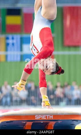 Cottbus, Germany. 23rd Nov, 2019. Gymnastics: World Cup, 44th International Tournament of Champions, Women's Final: Gymnast Lisa Zimmermann from Germany jumping. Credit: Monika Skolimowska/dpa-Zentralbild/dpa/Alamy Live News - Stock Photo