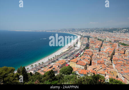 View of Nice beach and Promenade des Anglais from Castle Hill - Stock Photo