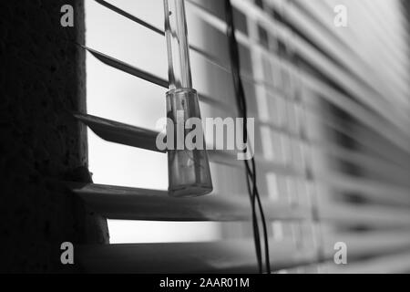 Horizontal metal jalousie, wand and rope. Background blinds. Black and white photo. - Stock Photo