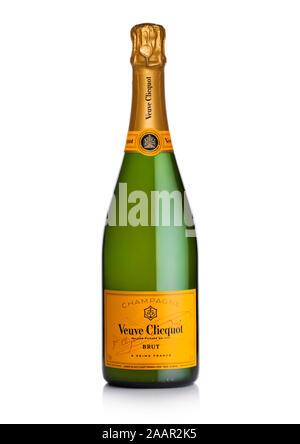LONDON, UK - NOVEMBER 20, 2019: Bottle of Veuve Clicquot Brut world famous luxury champagne on white. - Stock Photo