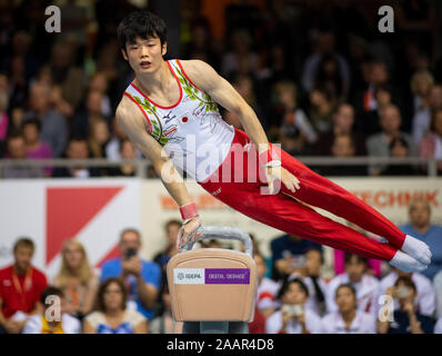 Cottbus, Germany. 23rd Nov, 2019. Gymnastics: World Cup, 44th International Champions' Tournament, Men's Final: Gymnast Kaito Imabayashi from Japan is playing pommel horse. Credit: Monika Skolimowska/dpa-Zentralbild/dpa/Alamy Live News - Stock Photo