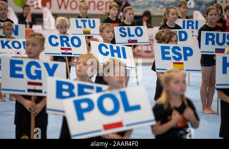Cottbus, Germany. 23rd Nov, 2019. Gymnastics: World Cup, 44th International Tournament of Champions, Final: Infants with signs of the participating countries are standing in the Lausitz-Arena. Credit: Monika Skolimowska/dpa-Zentralbild/dpa/Alamy Live News - Stock Photo