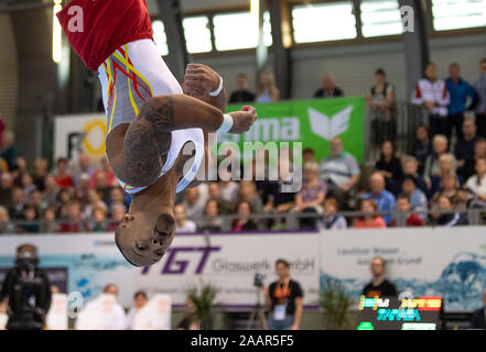 Cottbus, Germany. 23rd Nov, 2019. Gymnastics: World Cup, 44th International Champions' Tournament, Men's Final: Gymnast Raydelrey Zapata from Spain gymnastics on the ground. Credit: Monika Skolimowska/dpa-Zentralbild/dpa/Alamy Live News - Stock Photo