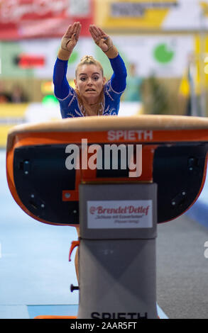 Cottbus, Germany. 23rd Nov, 2019. Gymnastics: World Cup, 44th International Tournament of Champions, Women's Final: Gymnast Maria Paseka from Russia jumping. Credit: Monika Skolimowska/dpa-Zentralbild/dpa/Alamy Live News - Stock Photo