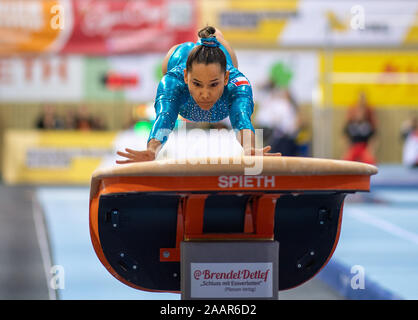Cottbus, Germany. 23rd Nov, 2019. Gymnastics: World Cup, 44th International Tournament of Champions, Women's Final: Gymnast Makarena Pinto Adasme from Chile jumping. Credit: Monika Skolimowska/dpa-Zentralbild/dpa/Alamy Live News - Stock Photo