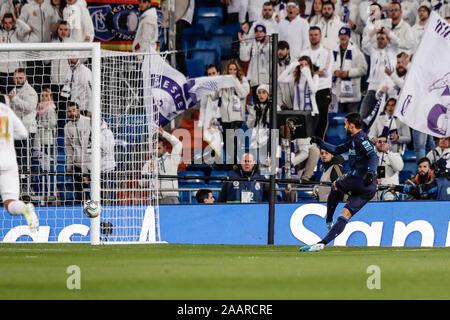 Estadio Santiago Bernabeu, Madrid, Spain. 23rd Nov, 2019. La Liga Football, Real Madrid versus Real Sociedad; Willian Jose (Real Sociedad) scores to make it 0-1 - Editorial Use Credit: Action Plus Sports/Alamy Live News - Stock Photo