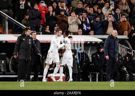 Estadio Santiago Bernabeu, Madrid, Spain. 23rd Nov, 2019. La Liga Football, Real Madrid versus Real Sociedad; Gareth Bale (Real Madrid) comes on as a substitute Credit: Action Plus Sports/Alamy Live News - Stock Photo
