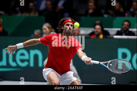 Madrid, Spain. 23rd Nov, 2019. Feliciano Lopez of Spain plays a forehand against Kyle Edmund of Great Britain during semi-finals, Day 6 of the 2019 Davis Cup at La Caja Magica in Madrid. Credit: SOPA Images Limited/Alamy Live News - Stock Photo