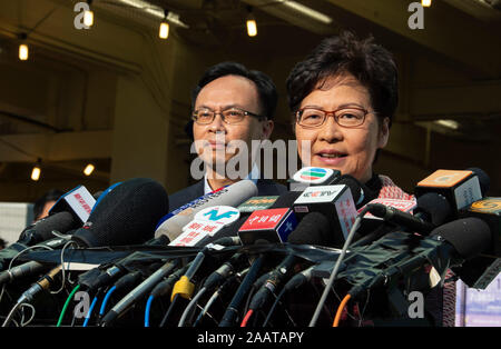 Hong Kong, China. 24 November 2019.  Chief Executive, CARRIE LAM, votes in the district council elections and meets the press. The election is predicted to show Hong Kongers true views following 5 months of protests. Jayne Russell/Alamy Live News - Stock Photo
