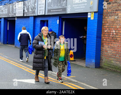 23rd November 2019, Goodison Park, Liverpool, England; Premier League, Everton v Norwich City : Norwich City fans arriving for the game Credit: Conor Molloy/News Images - Stock Photo