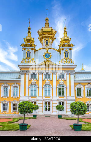 The church at the Peterhof Palace in Petergof, St. Petersburg, Russia. - Stock Photo