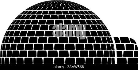 Igloo dwelling with icy cubes blocks Place when live inuits and eskimos Arctic home Dome shape icon black color vector illustration flat style simple - Stock Photo