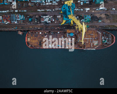 Drone view of ship in Neva river at Shlisselburg, Russia