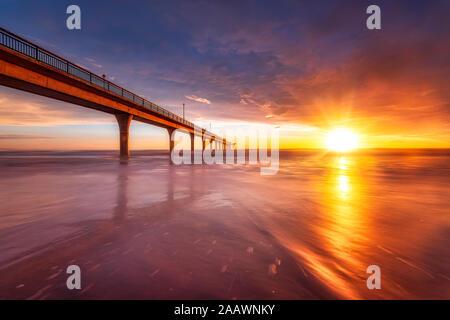 Sunrise at Brighton Pier in Christchurch, South Island, New Zealand