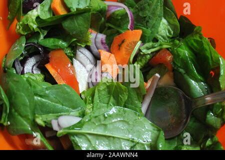 appetizing fresh salad  from tomato, pepper, onion, lettuce on dinner - Stock Photo