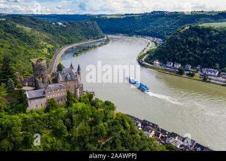 Aerial view of Katz Castle on mountain by Rhine River, Germany - Stock Photo