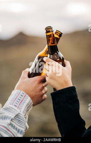 Close-up of couple clinking beer bottles