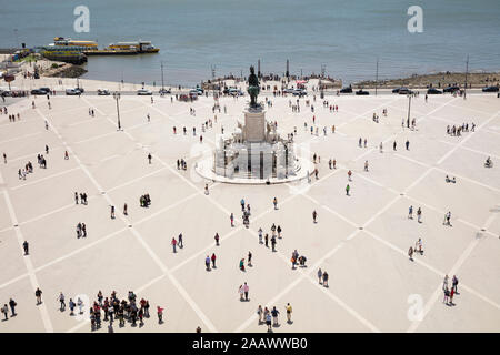 Aerial view of people at Praca do Comércio against sky, Lisbon, Portugal