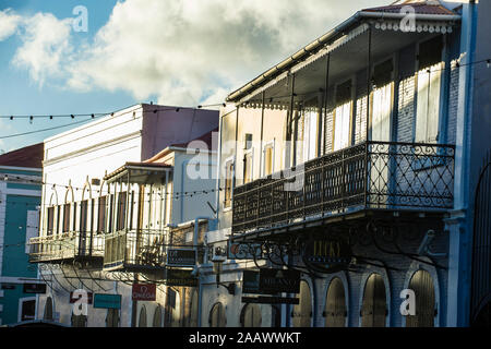 Old colonial balconies, Charlotte Amalie capital of St. Thomas, US Virgin islands - Stock Photo