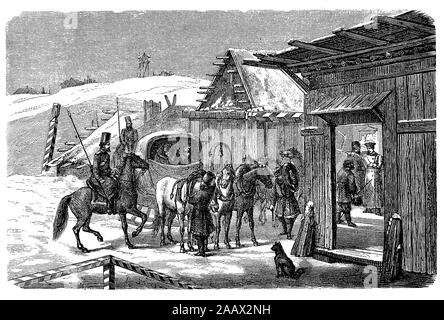 Post office in Siberia 19th century with troika - a sleigh trained by three horses - ready for mail delivery - Stock Photo