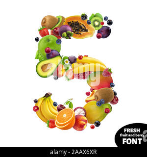 Number five made of exotic berries and fruits isolated on white background - Stock Photo
