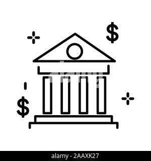 Bank building, university or courthouse, classic greek architecture isolated line icon - Stock Photo