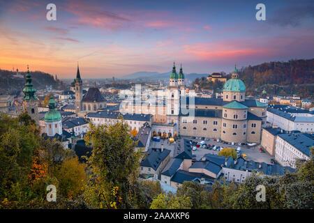 Salzburg, Austria. Cityscape image of the Salzburg, Austria with Salzburg Cathedral during autumn sunset.