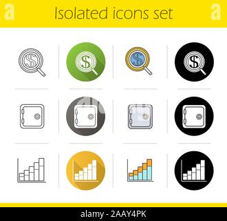 Banking and finance icons set. Flat design, linear, black and color styles. Investments search, safe deposit box, income growth chart. Isolated vector - Stock Photo