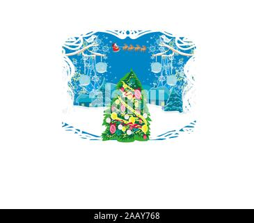 Happy New year card with Santa and a beautiful winter landscape - Stock Photo