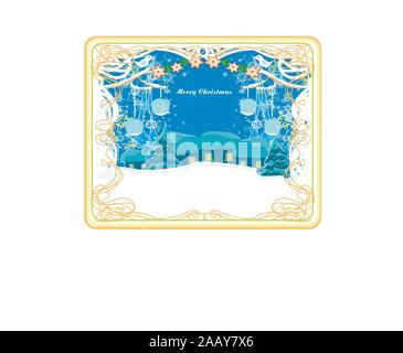holidays in the village, decorative card with birds - Stock Photo
