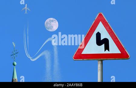 Flugzeug weicht einem Verkehrsschild entsprechend dem Mond aus, Deutschland | airplane obeying traffic sign, avoiding crash with a moon, Germany | BLW - Stock Photo
