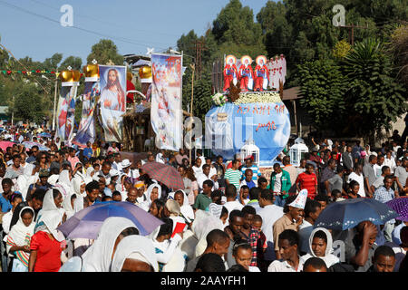 Gonder, Ethiopia, February 18 2015: Locals take part in the procession at the Timkat festival, the important Ethiopian Orthodox celebration of Epiphan Stock Photo