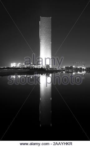 MANAMA , BAHRAIN - OCTOBER 30: The illuminated Four Seasons Hotel Baharin Bay at night on October 30, 2016, Manama, Bahrain. This is 68 storeys beauti - Stock Photo