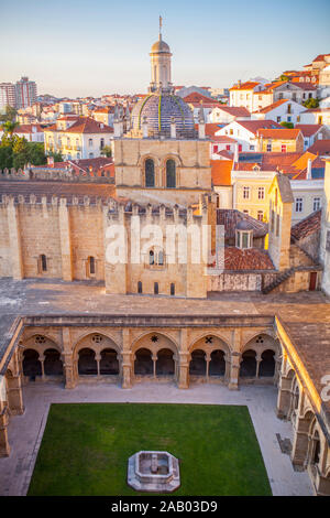 View of Monastery of Santa Cruz from upper city viewpoint at sunset, Coimbra, Portugal