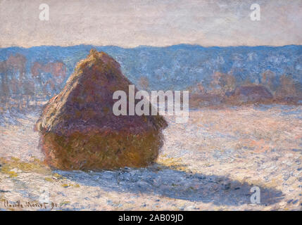 Grainstack (Snow Effect) by Claude Monet (1840-1926), oil on canvas, 1891 - Stock Photo