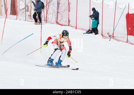 Quebec,Canada. Sarah Mains of Canada competes in the Super Serie Sports Experts Ladies slalom race held at Val Saint-Come - Stock Photo