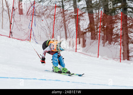Quebec,Canada. A skier competes in the Super Serie Sports Experts Ladies slalom race held at Val Saint-Come - Stock Photo